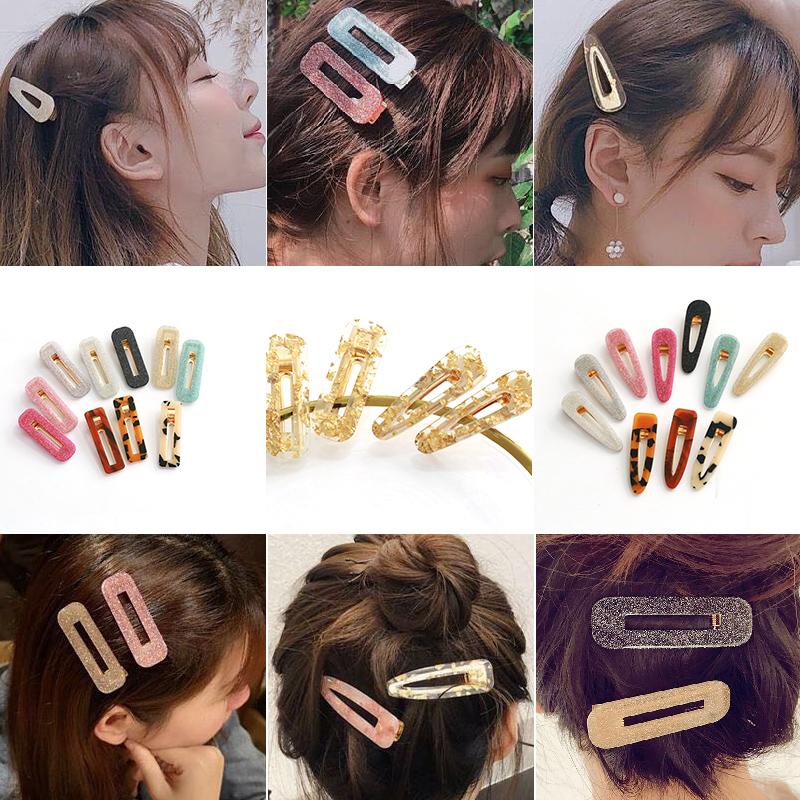Japanese acetic acid hairpin gold foil glittering powder banger plate duck clip color hair accessories female Korean geometric water drop edge clip