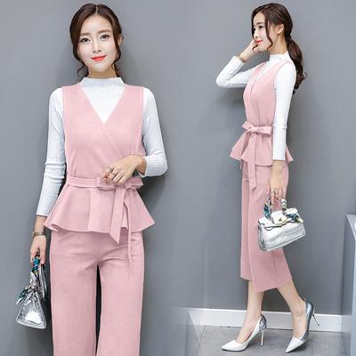 装新款时尚长袖三件套休闲阔腿裤套装女A588p80