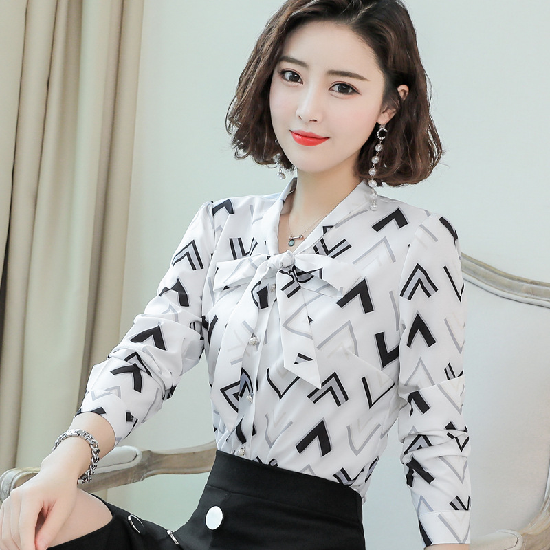 Figure the new geometric design Long Sleeve Chiffon Top of spring and autumn style ol tie bow Fit Shirt Top