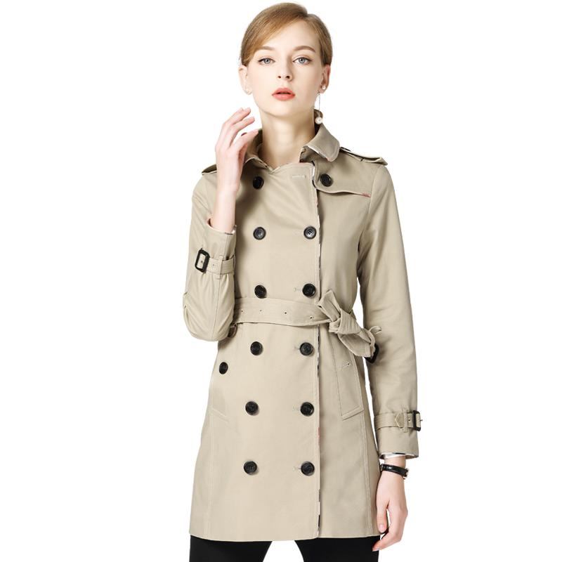 2018秋装新款欧巴宝莉安娜专柜正品纯棉修身中长款风衣女外套女装