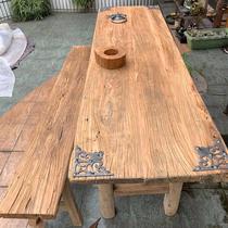 老榆木风化旧木板原木旧门板阳台桌实木吧台复古怀旧茶台茶桌餐桌