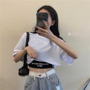 复古港风chic韩版字母印花无袖t恤