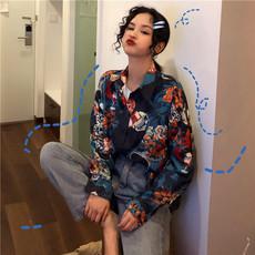复古港风chic衬衣2019宽松韩版印花小众设计感长袖花衬衫女港味潮