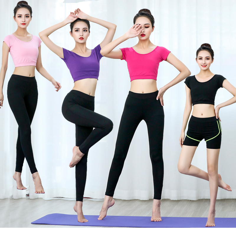 Yoga suit womens net red summer thin short sleeve shorts modal Fitness Aerobics two piece set sexy