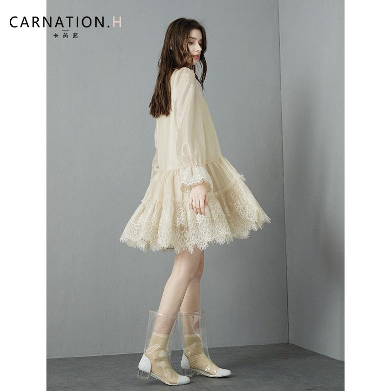 卡芮茜浪漫法式少女新款连衣裙蕾丝拼接大摆仙女裙子仙女超仙森系