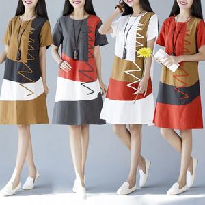 2020夏季新款韩版民族风女装大码宽松短袖拼接中长款亚棉麻连衣裙