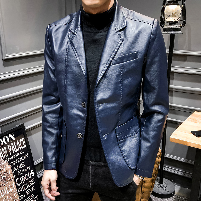 Mens leather jacket autumn and winter Korean fashion slim fit mens coat youth leather jacket PU leather Lapel mens coat