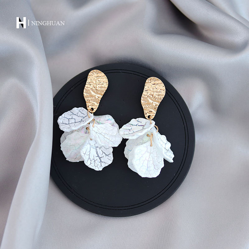 S925 silver needle white immortal flower multi petal Earrings shell texture EARRINGS Metal Earrings irregular Earrings