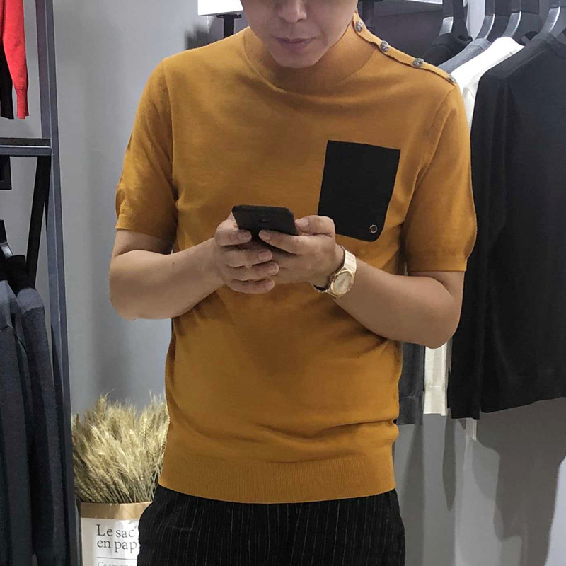 Knitted short sleeve mens half high collar thin half sleeve woolen sweater slim bottomed T-shirt autumn and winter trend cashmere sweater