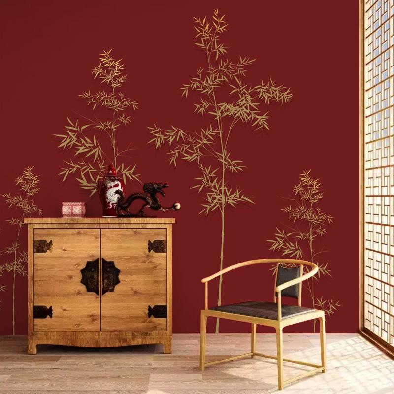 中国式壁紙テレビの背景壁の壁紙古風の竹の壁に日本式茶室の赤い黒色の簡単な壁画を配置します。