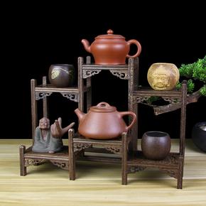 红木实木紫砂壶架子茶具架茶架小博古架鸡翅木多宝阁展示架底座架