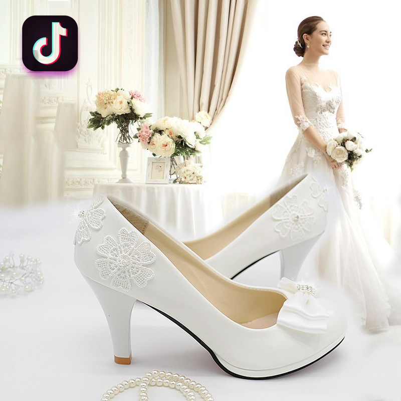 Bridal high heel Wedding Bridesmaid shoes flat bottomed spring versatile 2019 new large white 5cm fairy shoes