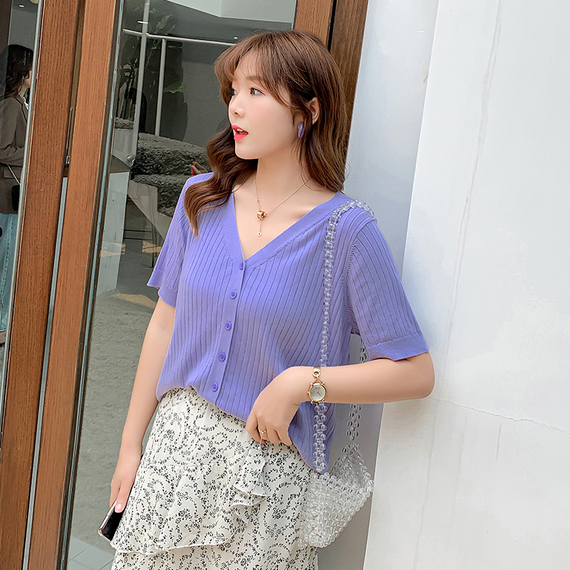 Summer new T-shirt purple cardigan womens top V-neck t-shirt t-shirt large size shows thin womens short sleeve thin