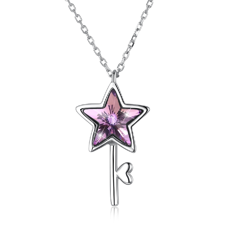 Gemstone Star Pendant small group light luxury exquisite jewelry S925 five pointed star necklace clavicle exported to Europe and America svn289