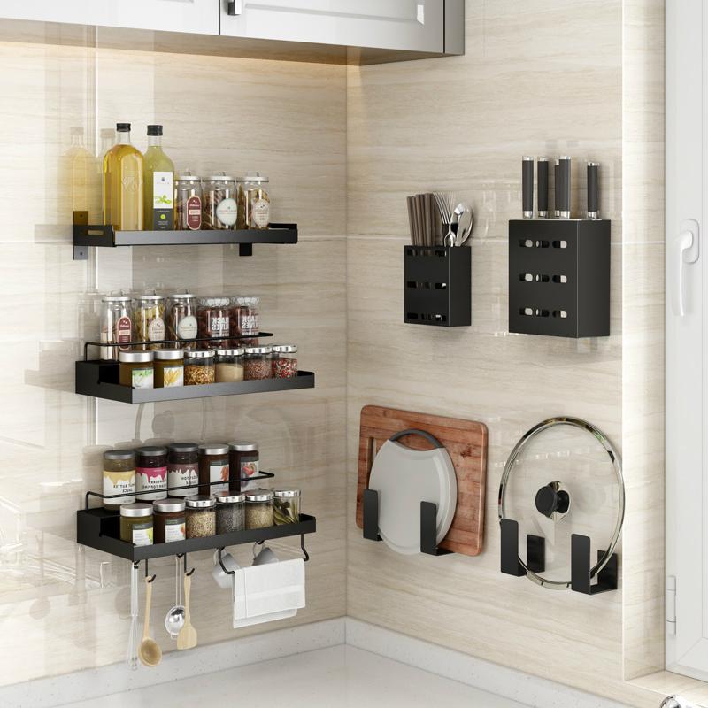 厨房置物架免打孔壁挂式家用调味料用品大全刀架挂架神器收纳架子