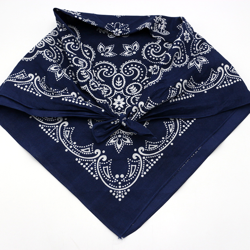 2020 new export 68cm pure cotton Navy cashew flower square scarf mens headband retro scarf womens hair band