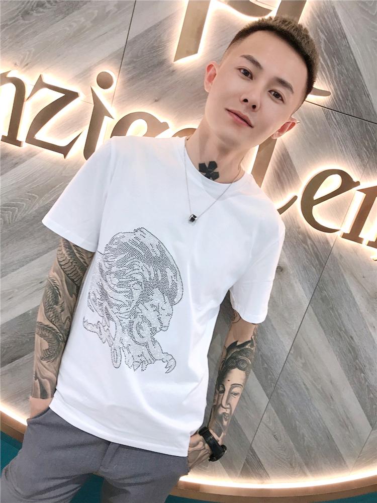 精神社会小伙韩版修身t恤快手红人同款夏季烫钻短袖青年打底衫男