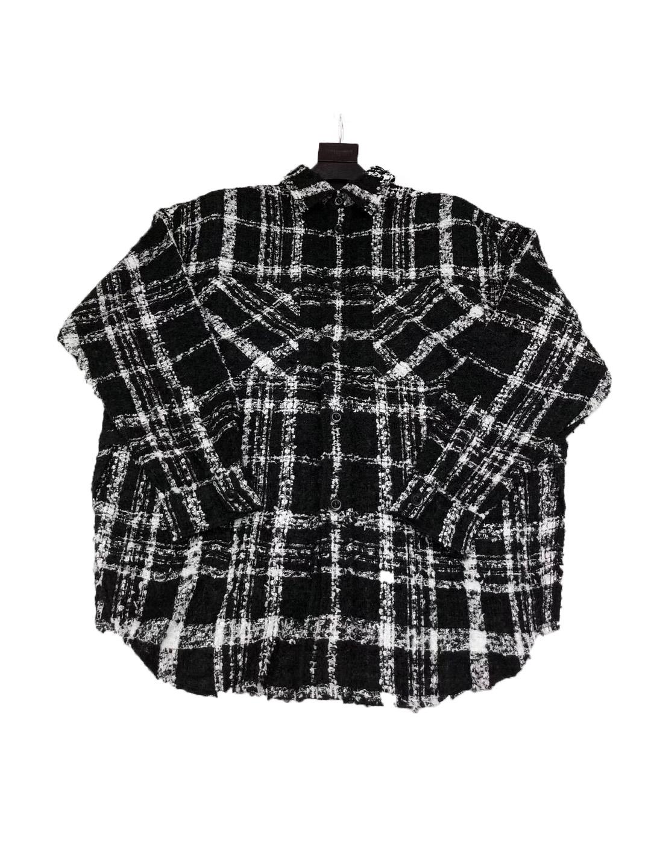 Faith Connexion FC黑白格子编织羊毛衬衫黑格纹衬衣外套经典元年