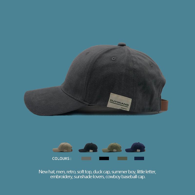 RUOKEKE韩国贴布棒球帽子女情侣百搭冬季遮阳帽复古软顶鸭舌帽男