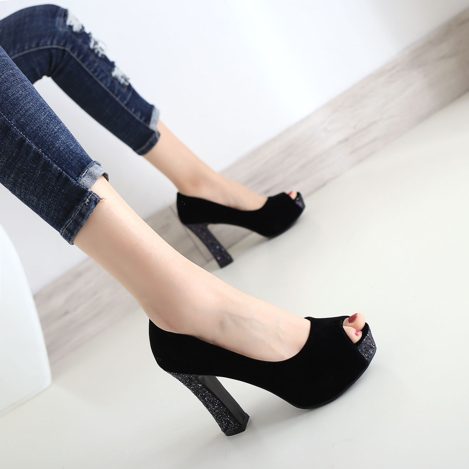 Fashion Black Suede super high heels 10cm fish mouth waterproof platform sexy thick heel shoes