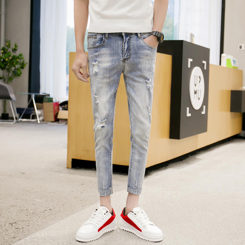 八分裤a蓝色 修身小脚牛仔裤 薄款 九分裤韩版b417/k185p68