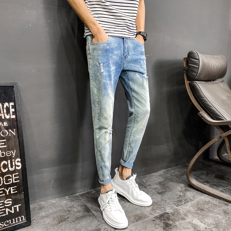夏款8分裤分牛仔裤男修身小脚韩版潮流kk257p50