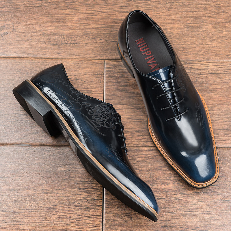 Handmade Leather Mens shoes top layer cowhide mens business shoes foreign trade lace up low top high grade mens formal wear