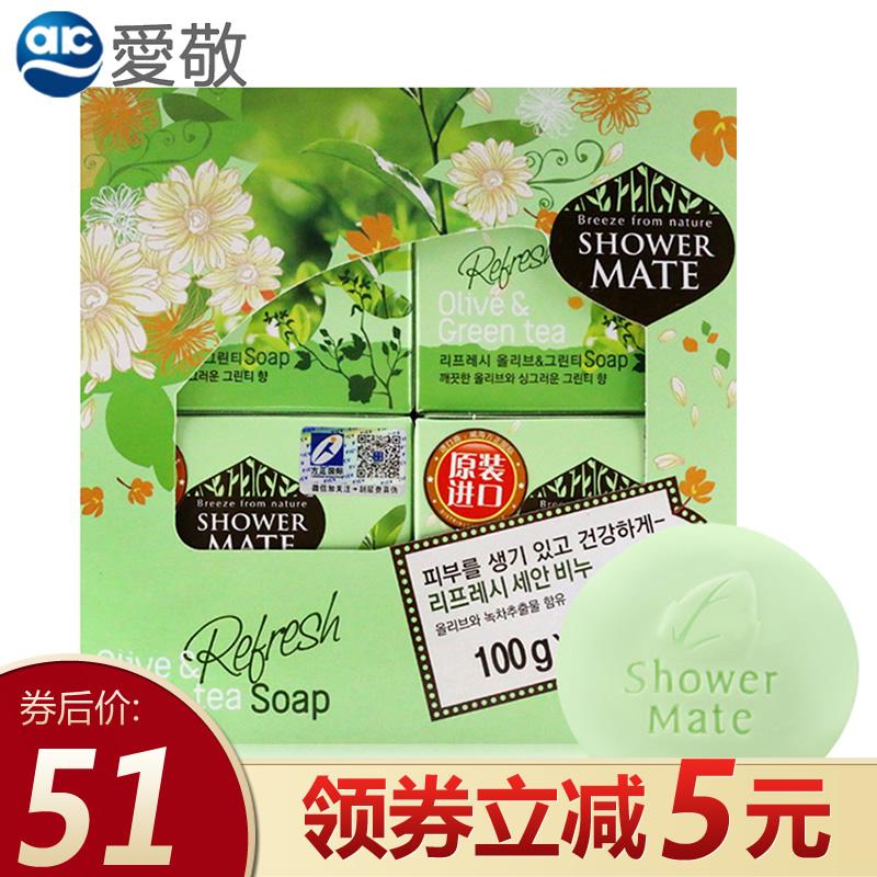 韩国爱敬橄榄绿茶香皂洁面沐浴皂洗澡肥皂控油舒爽不紧绷4块盒装,可领取5元天猫优惠券