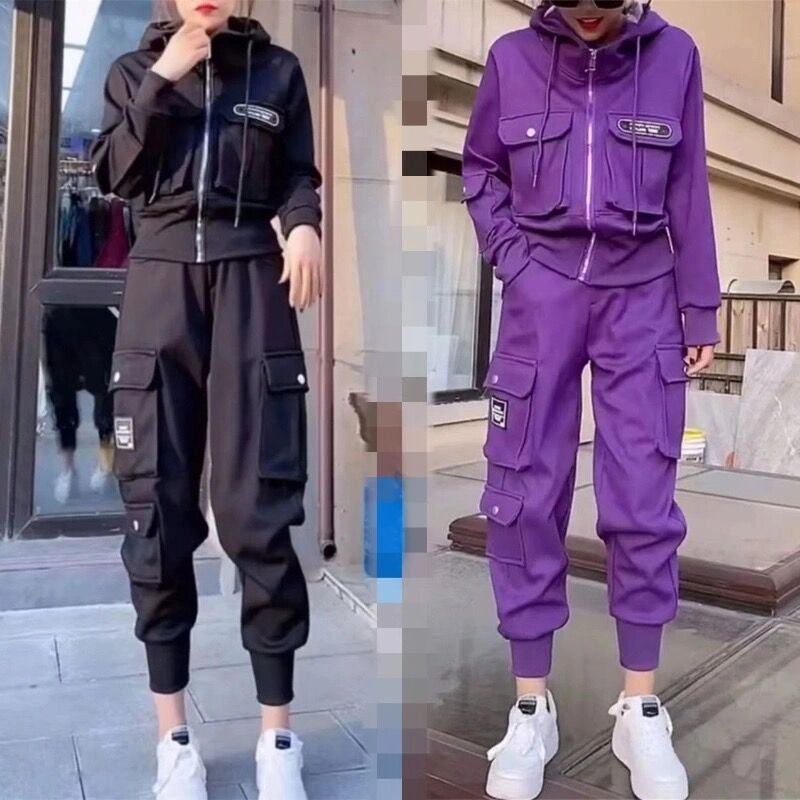 Net red tooling suit womens 2021 spring new leisure fashion long sleeve short jacket top sports pants two piece set