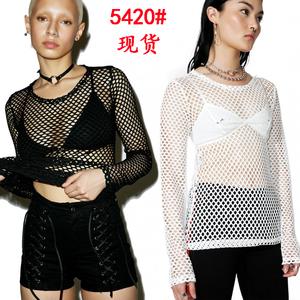 5420#速卖通渔网上衣长袖