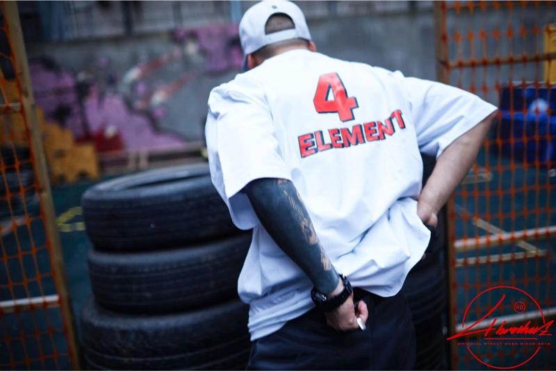 """4B原创""""4ELEMENT""""美式嘻哈街舞滑板bboy短袖宽松T恤推荐热销"""