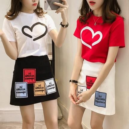 社会女衣服快手嘻哈一套韩版学生潮流套装夏半身裙子小个子两件套