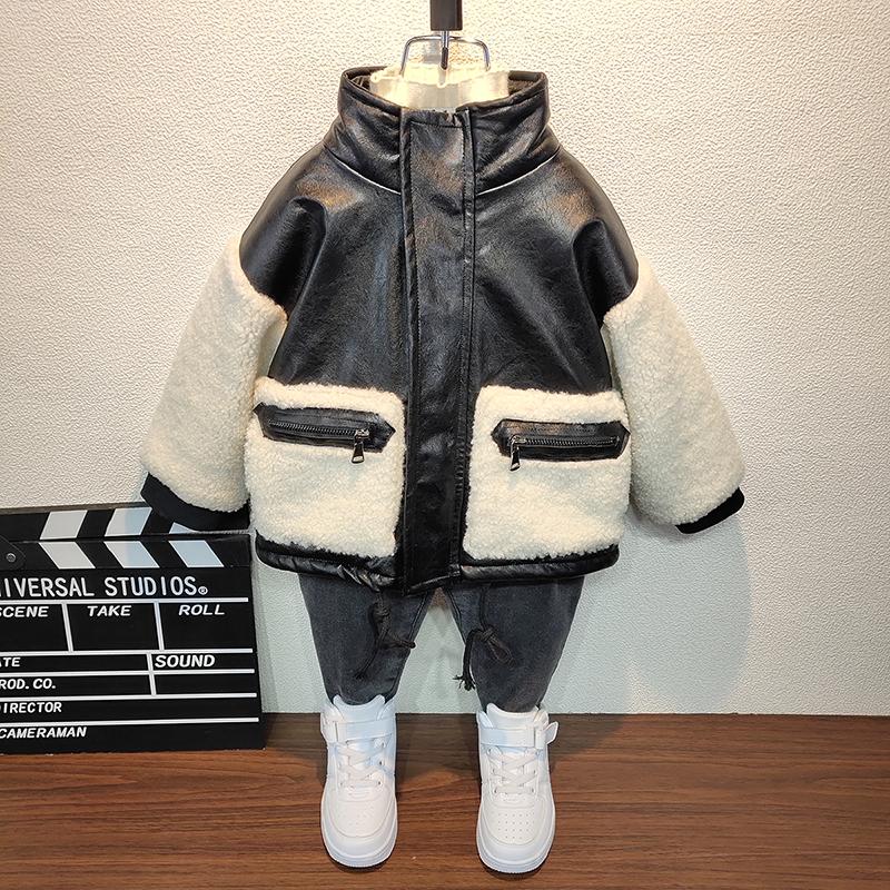 男童加绒皮衣洋气儿童装2020夹克