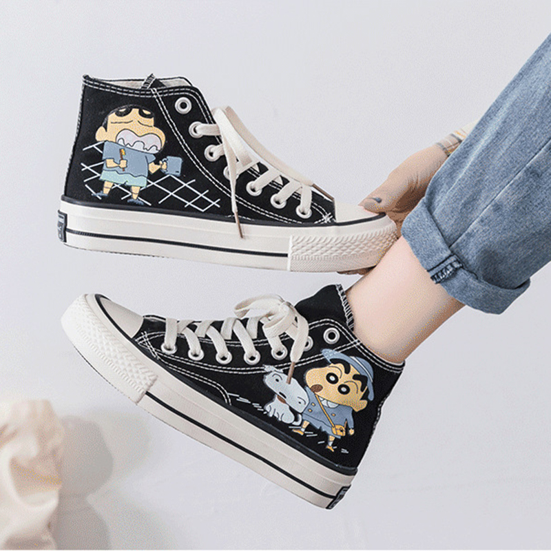 Crayon Shin high top canvas shoes women 2020 new printing Japanese cartoon character flat shoes board shoes student shoes