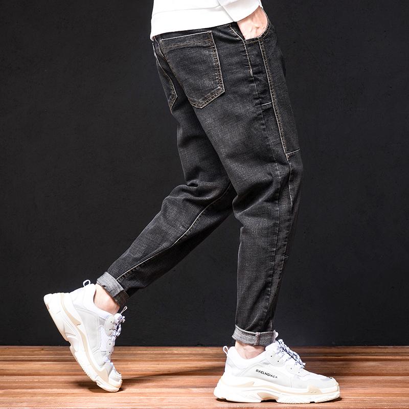 秋季牛仔裤男宽松直筒男裤加肥加大码胖子男式裤子男士牛子裤薄款