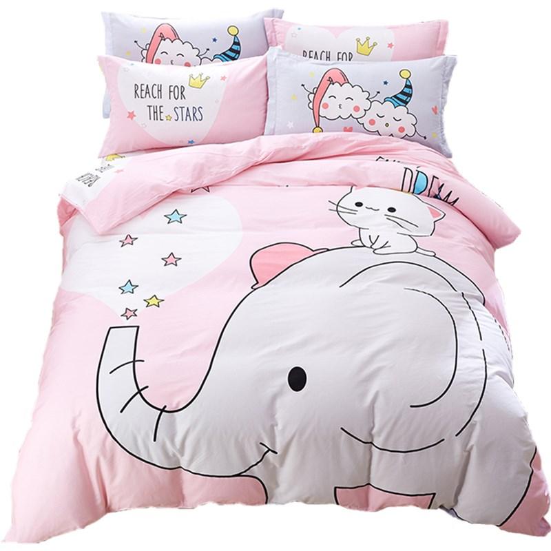 全棉卡通四件套可爱床单被套纯棉儿童床上用品三件套床笠1.2/1.5m