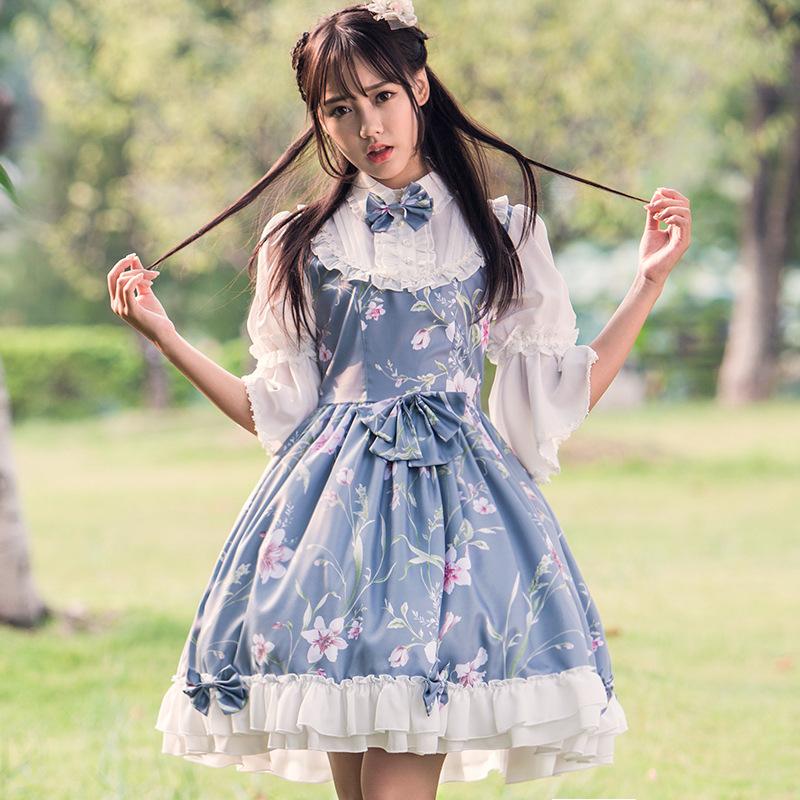 新モデルの精霊姫ロリータプリントのリネンワンピースオリジナルの女装中国風lolitaプリンセス洋服