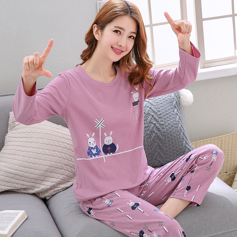 长袖女士韩版女生长裤纯棉睡衣(用75.12元券)