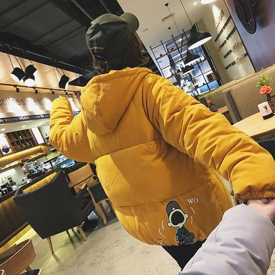 2018秋冬新款 印花长袖连帽情侣面包服棉衣外套女 M9015 P108