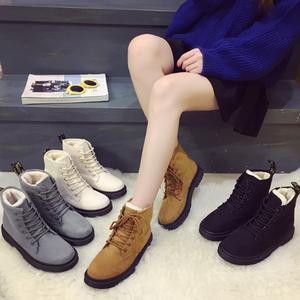 2017冬新款纯色防水马丁靴加绒雪地保暖棉鞋学生防滑百搭短靴女靴