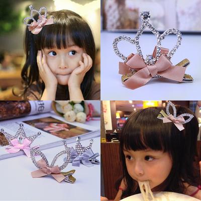 儿童发夹 宝宝生日皇冠发卡 女孩头饰发饰 女童水钻王冠钻石夹子