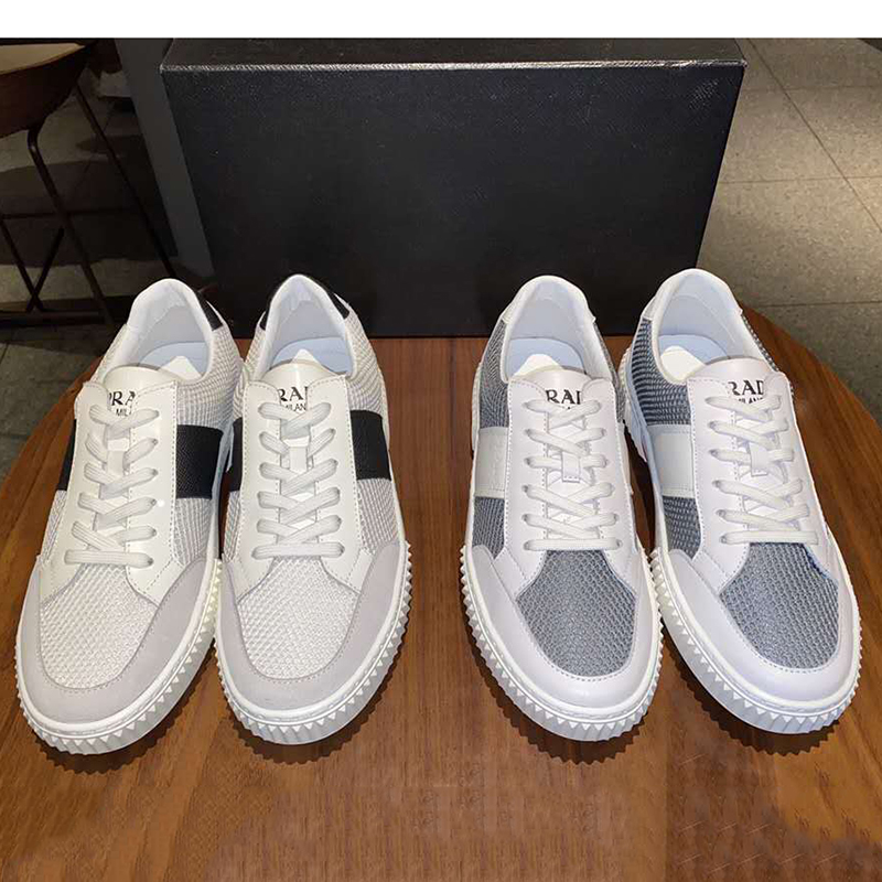 072212-2020 spring / summer new top leather mesh stitching sneaker fashion mens low top running shoes are breathable