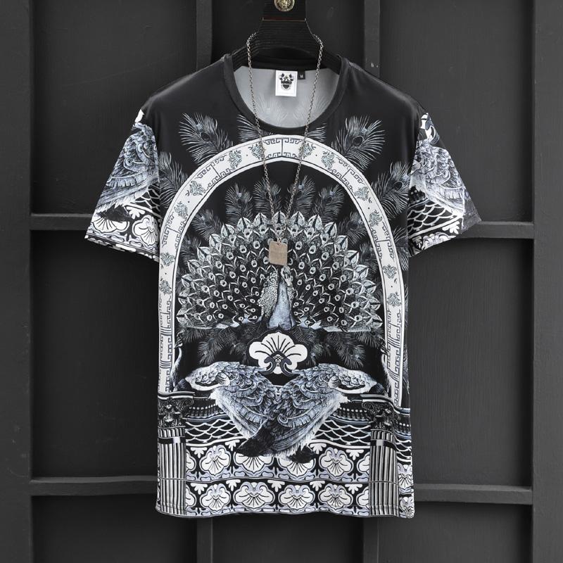 ZKEAZS孔雀开屏图案夏装潮流花T恤男短袖丝滑个性花纹冰丝半截袖热销18件有赠品