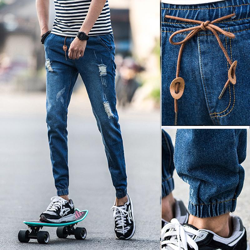 2016 Летние Англии мужчин 9 футов разорвал джинсы Корейский нищий брюки тонкий луч ног девять минут брюки бума