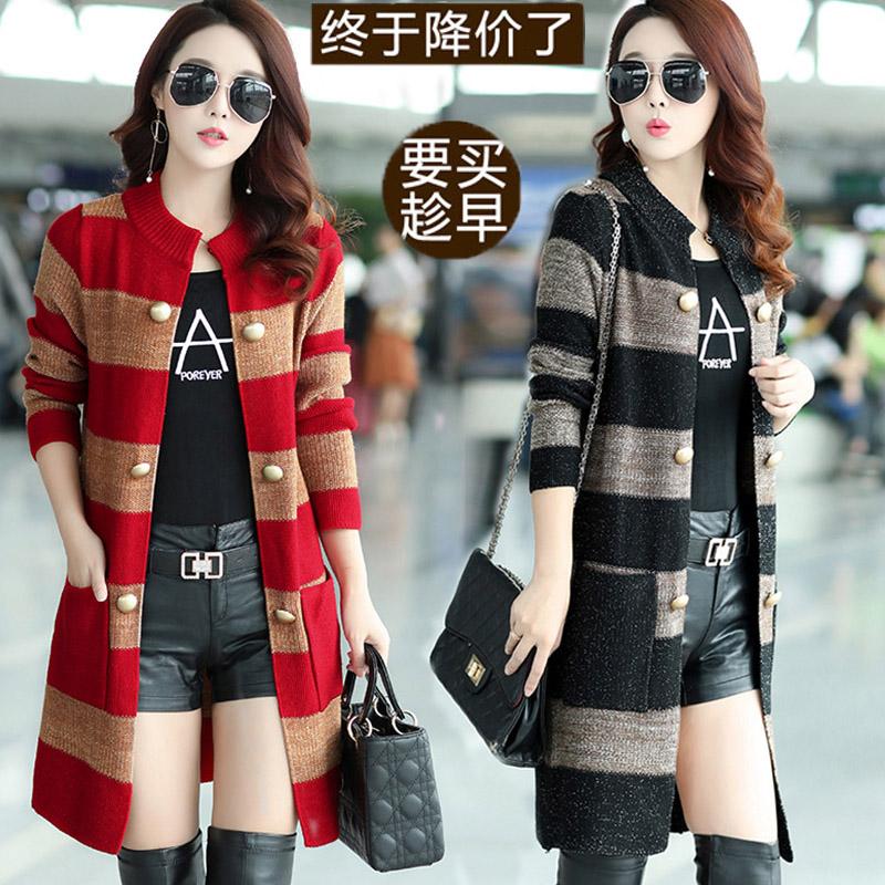 Sweater cardigan 2020 spring and autumn womens new fashion big size loose Korean version versatile coat medium length knitwear fashion