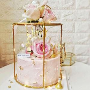 金属花架花篮铁艺几何花篮创意礼盒蛋糕铁艺花架手提镀金装饰花篮