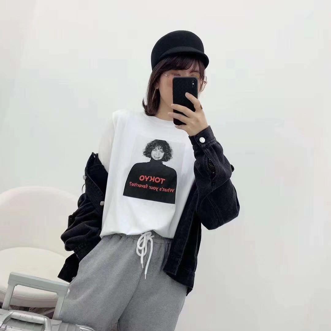 2019夏装新款韩版港风字母头像印花短袖T恤女韩范百搭宽松上衣潮