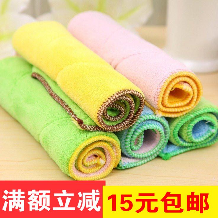 超细纤维双面加厚吸水抹布厨房洗碗布 厨房毛巾不掉毛清洁百洁布