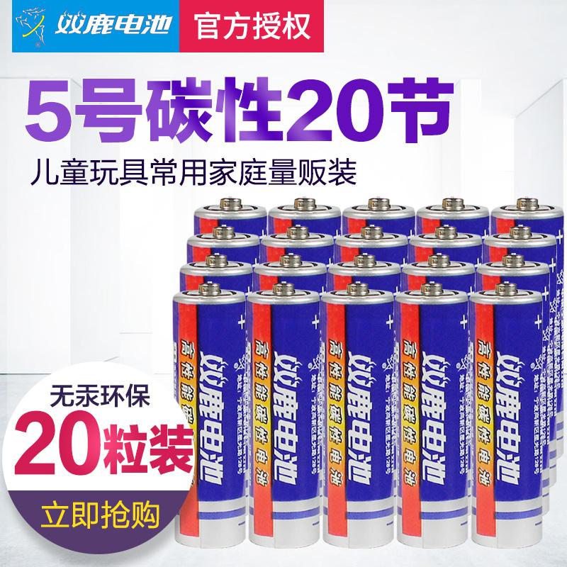 双鹿碳性五号干电池20节5号儿童玩具电池R6无汞碳性电池环保防漏液电池石英钟电池包邮
