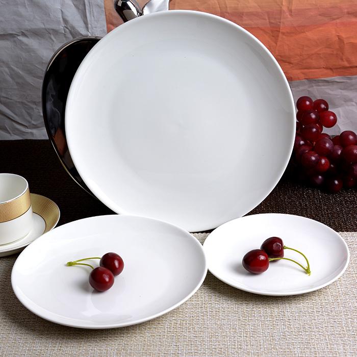 牛排盤子陶瓷西餐盤 圓盤碟子日式平盤淺盤6 8 10寸圓形月光盤